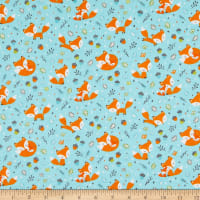 Camelot Frolicking Foxes Flannel Blue