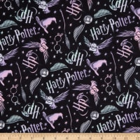 Harry Potter Tossed Elements Flannel Black