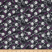 Nightmare Before Christmas Skull and Bones Glow in the Dark Flannel Purple