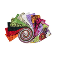 "Clothworks Flower Power 2.5"" Strip Roll 40pcs Multi"