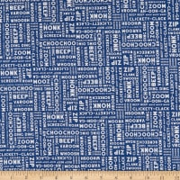 Clothworks Things That Go Word Collage Light Navy