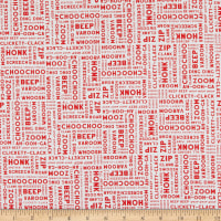 Clothworks Things That Go Word Collage White