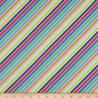 Clothworks Things That Go Stripe Multi Color