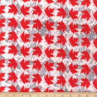 Canada Flannel Leaves Two Red/White