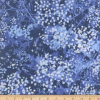 "108"" Wide Back Flannel Abstract Foliage Blue"