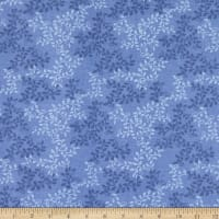"108"" Flannel Leaves Colony Blue"