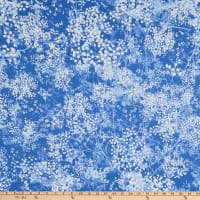 """108"""" Wide Back 100% Cotton Abstract Foliage Blue"""