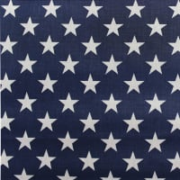 White Star on Navy Poly Cotton Broadcloth (Bolt, 15 Yds) White/Navy