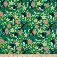 Nerida Hansen Organic Tropical Lush Monkeys Bright Green
