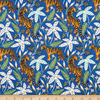 Nerida Hansen Organic Tropical Lush Tigers Bright Blue