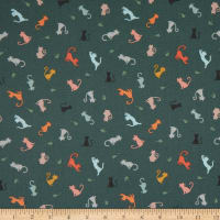 Lewis & Irene Purrfect Petals Cat and Mouse Dark Teal