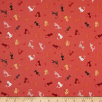 Lewis & Irene Purrfect Petals Cat and Mouse Soft Red