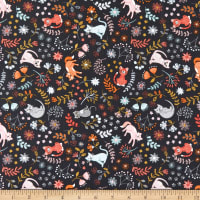 Lewis & Irene Purrfect Petals Floral Cats Charcoal