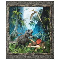 "In The Beginning Digital Jurassic Dinosaur 36"" Panel Multi"