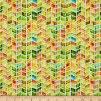 In The Beginning Fabrics Dinosaur Friends Chevron Multi