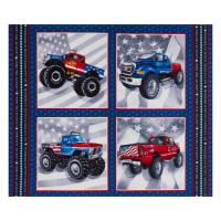 "Henry Glass American Truckers Monster Truck Blocks 36"" Panel Navy"