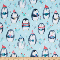 Shannon Studio Digital Minky Cuddle Cozy Penguins Saltwater