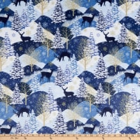 Shannon Studio Digital Minky Cuddle Midnight Deer Navy
