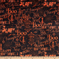 Shannon Studio Digital Minky Cuddle Spooky Script Black