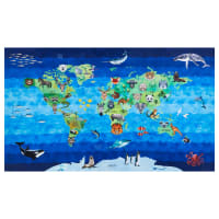 "Shannon Hoffman Digital Minky Cuddle 36"" Panel Zoo Keeper Blue"