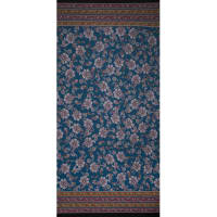 Fabtrends Ity Double Border Paisley Light  Teal Wine