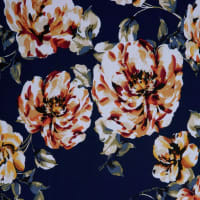 Fabtrends Ity Watercolor Floral Navy Rust