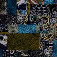 Fabtrends Ity Patchwork Black Teal