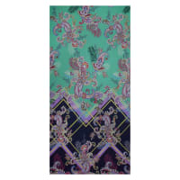 Fabtrends Ity Single Border Paisley Jade Purple