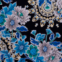Fabtrends Ity With Foil Floral Black Turq