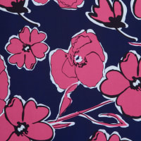 Fabtrends Ity With Puff Floral Navy Fuschia