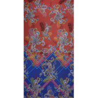 Fabtrends Ity Single Border Paisley Coral Blue