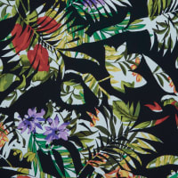 Fabtrends Mohana Tropical Leaves Black Green