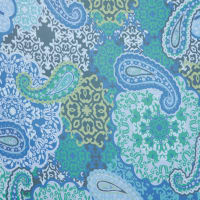 Fabtrends Hi Multi Chiffon With Puff Floral Paisley Blue Lime