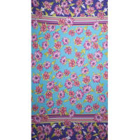 Fabtrends Ity Double Border Floral Turq
