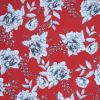 Fabtrends Millenium Cabbage Rose Floral Red