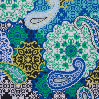 Fabtrends Ity With Puff Floral Paisley Blue Lime