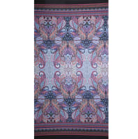 Fabtrends Ity Double Border Paisley Coral Sky