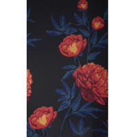 Fabtrends Ity Large Floral Black Red