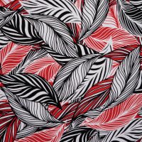 Fabtrends Linen Chiffon Tropical Palm Black Red