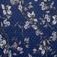 Fabtrends Holiday Floral With Dot Navy