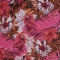 Fabtrends Ity Tropical Leaves Red Fuschia