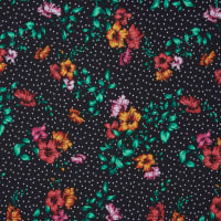 Fabtrends DTY Floral Dot Black White Jade