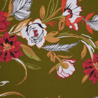 Fabtrends Ity Floral Bouquet Olive Orange