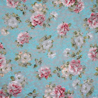 Fabtrends Dentelle Lace Floral Aqua Peach