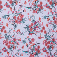 Fabtrends Vienna Floral White Orange Fuschia