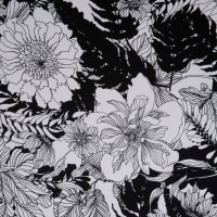 Fabtrends Silk Moroccan Floral Offwhite Black