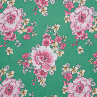 Fabtrends Vintage Floral Kelly HotPink Yellow