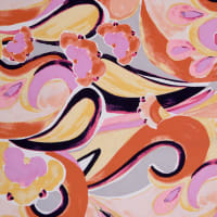Fabtrends Koshibo Floral Abstract Coral Lavender