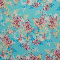 Fabtrends Washer Ghost Floral Aqua Yellow HotPink