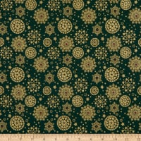 Fabtrends Cotton Poplin Snowflakes Green/Gold